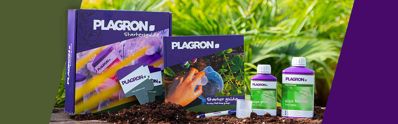 A complete Starter Guide Pack including the starter guide 100% NATURAL, a bottle of Alga Grow and Alga Bloom a measuring cup, plant tags and a pen